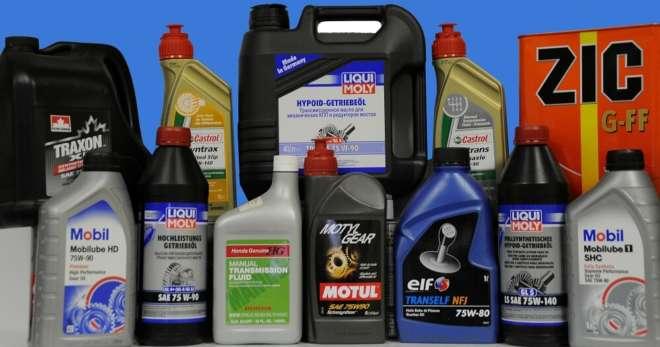 трансмиссионное масло в различных емкостях