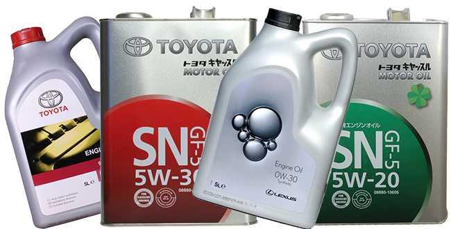 Моторные масла Тойота разных модификаций
