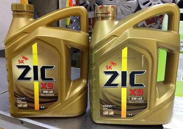 Оригинальная и поддельная канистры ZIC X9 5W 40