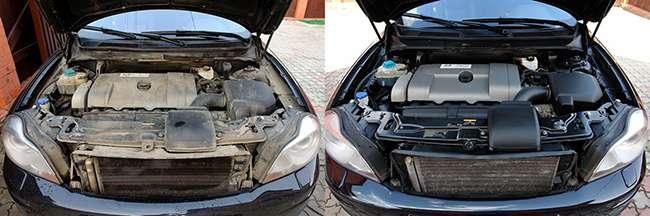 двигатель до и после мойки